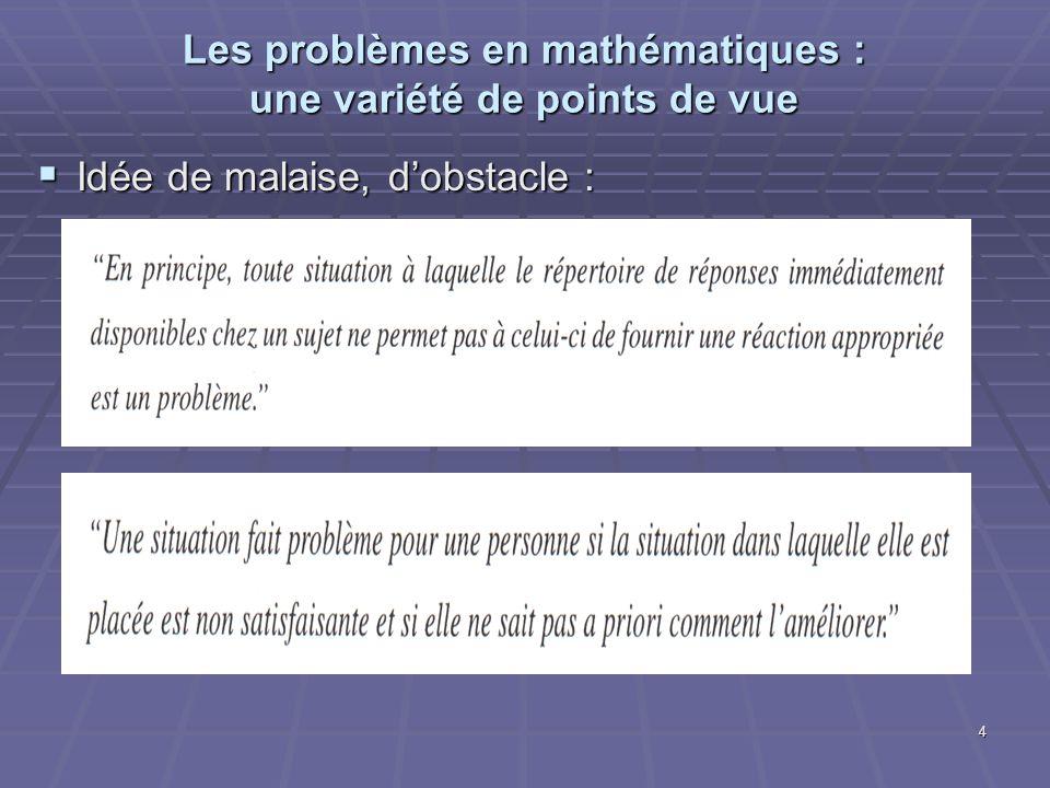 Les problèmes en mathématiques : une variété de points de vue