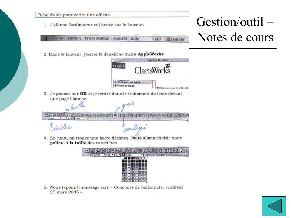 Gestion/outil – Notes de cours