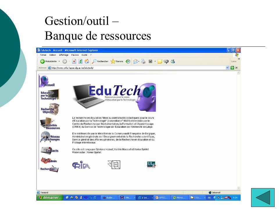 Gestion/outil – Banque de ressources