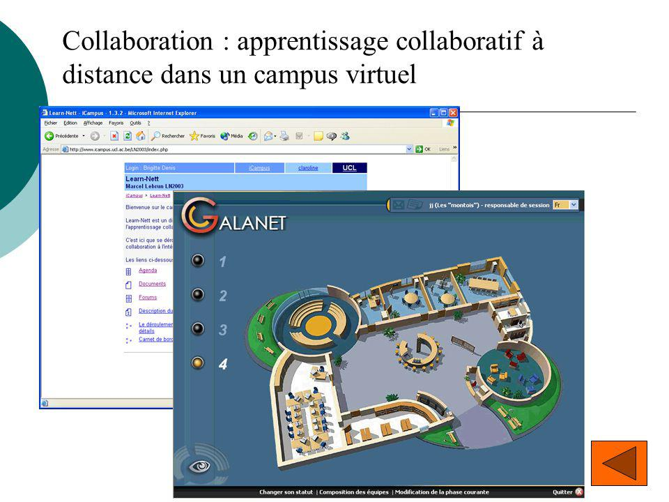 Collaboration : apprentissage collaboratif à distance dans un campus virtuel
