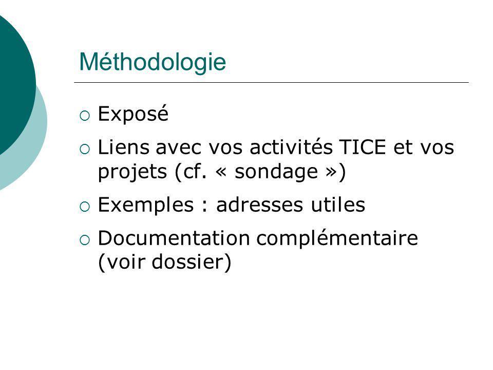 Méthodologie Exposé. Liens avec vos activités TICE et vos projets (cf. « sondage ») Exemples : adresses utiles.