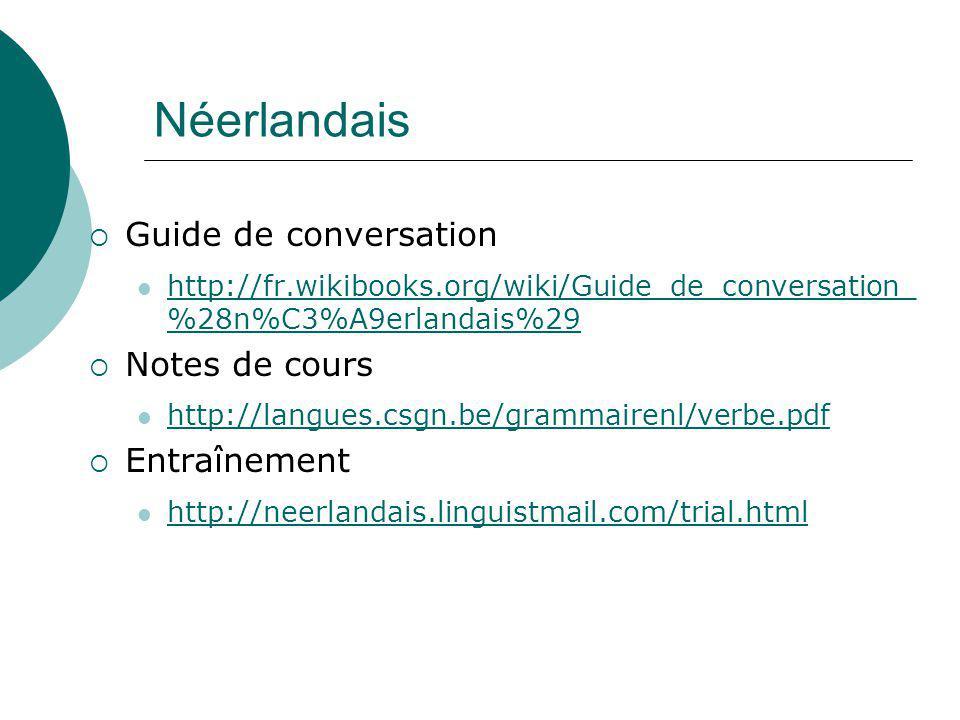 Néerlandais Guide de conversation Notes de cours Entraînement