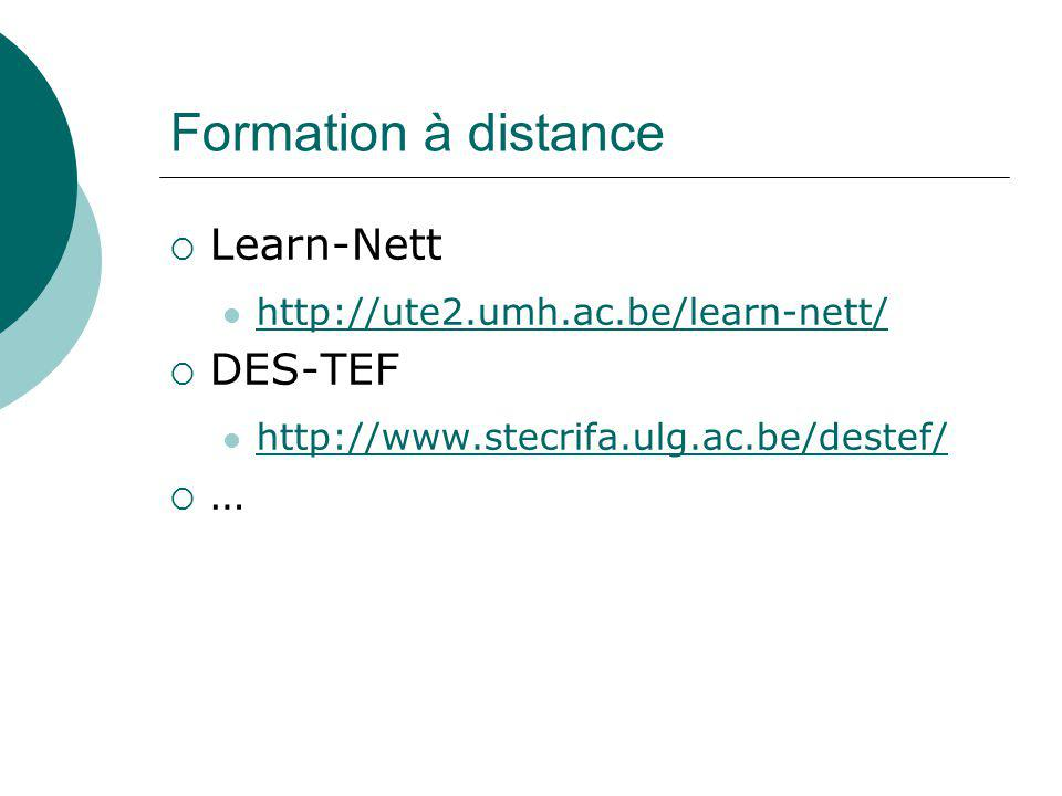 Formation à distance Learn-Nett DES-TEF …