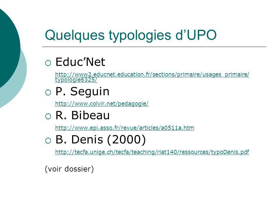 Quelques typologies d'UPO