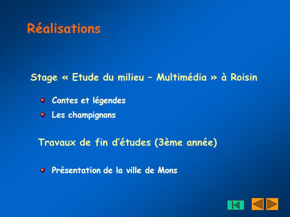 Réalisations Stage « Etude du milieu – Multimédia » à Roisin