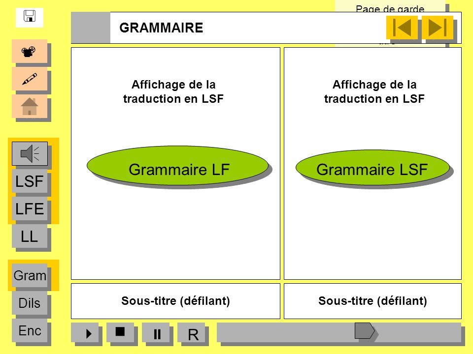    LFE LSF LL Grammaire LF Grammaire LSF   R  GRAMMAIRE Gram