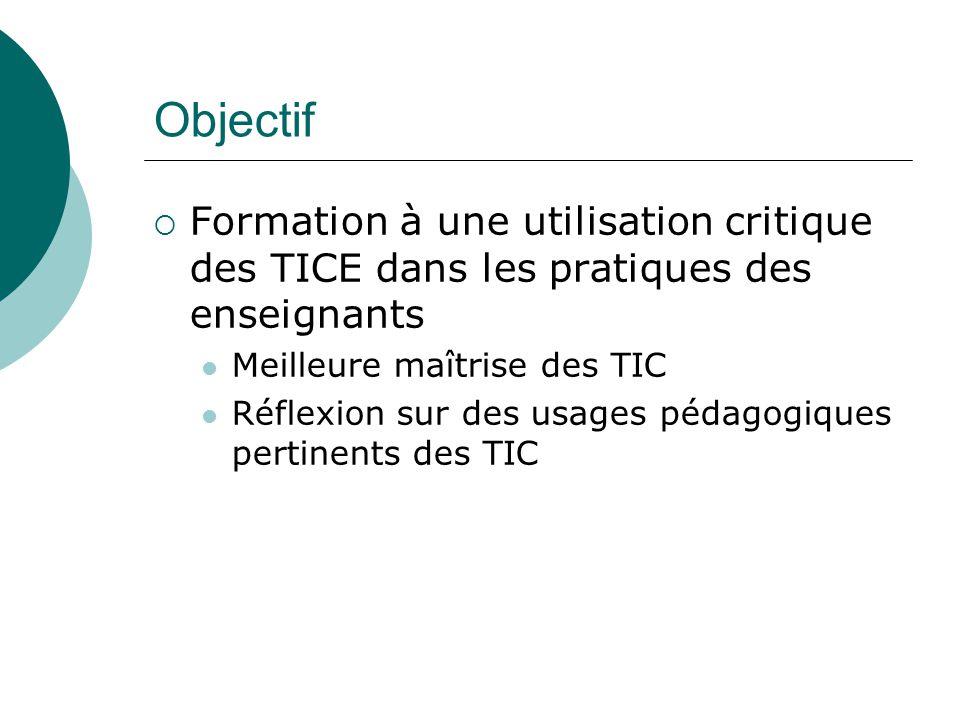 Objectif Formation à une utilisation critique des TICE dans les pratiques des enseignants. Meilleure maîtrise des TIC.