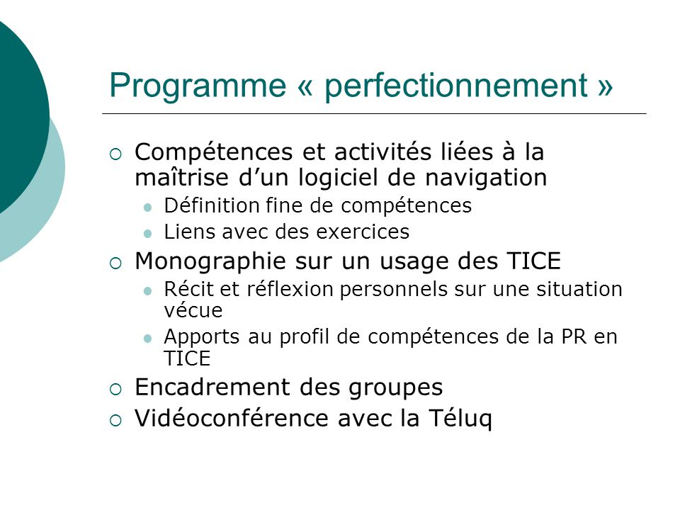 Programme « perfectionnement »