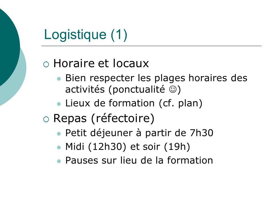 Logistique (1) Horaire et locaux Repas (réfectoire)