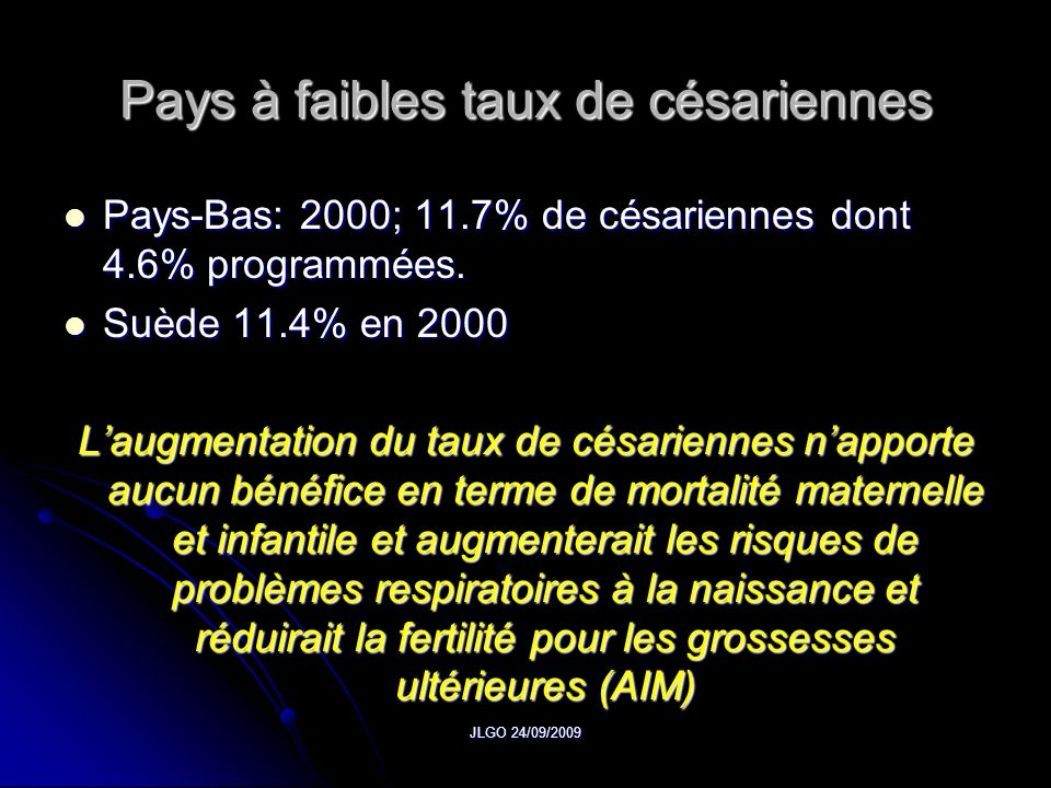 Pays à faibles taux de césariennes