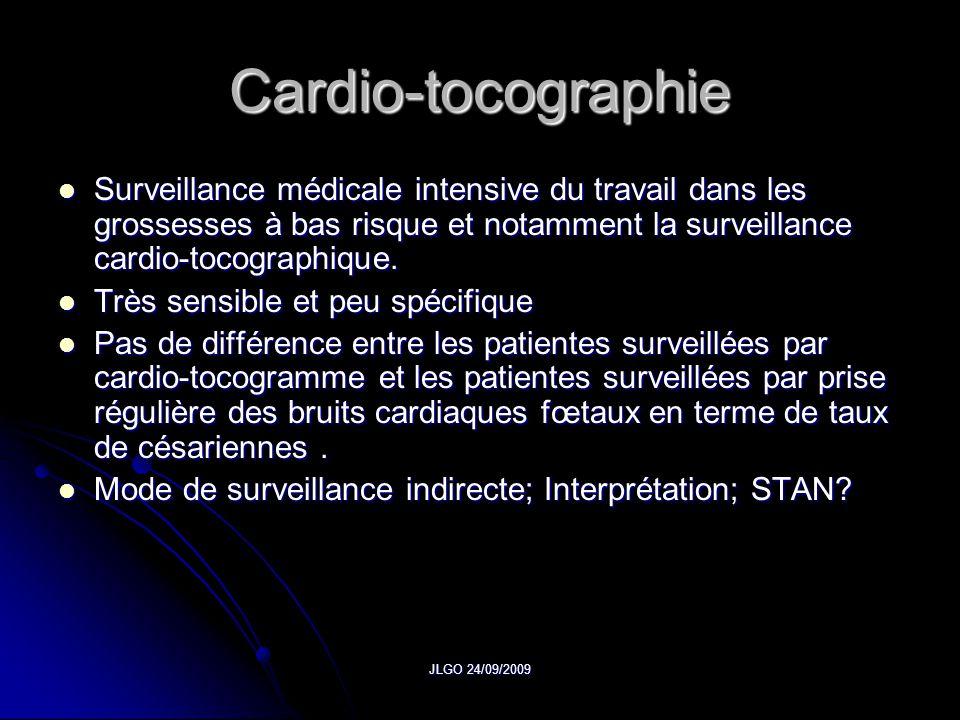 Cardio-tocographie Surveillance médicale intensive du travail dans les grossesses à bas risque et notamment la surveillance cardio-tocographique.