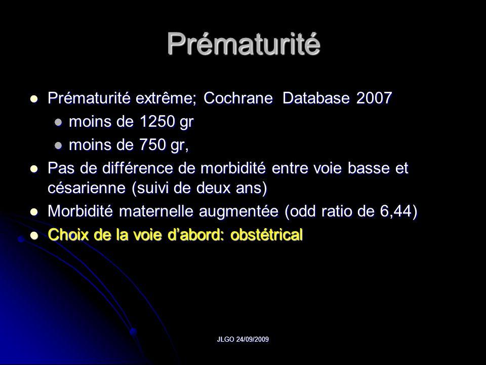 Prématurité Prématurité extrême; Cochrane Database 2007
