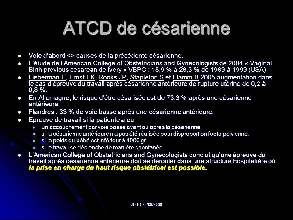 ATCD de césarienne Voie d'abord <> causes de la précédente césarienne.