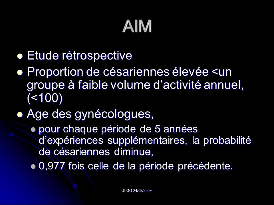 AIM Etude rétrospective