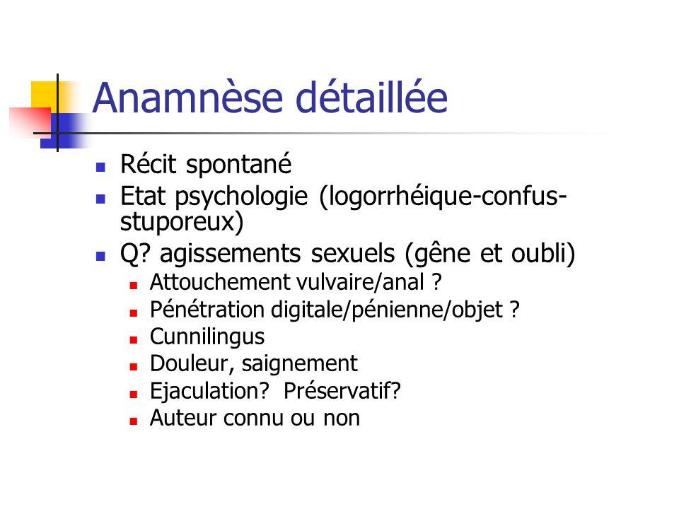 Anamnèse détaillée Récit spontané