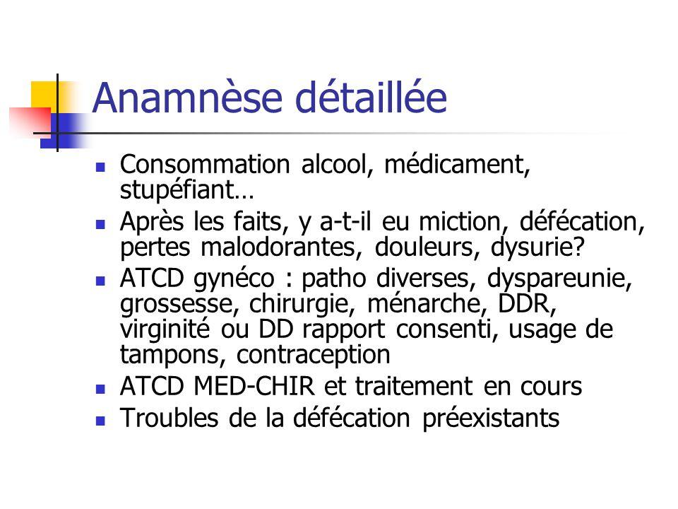 Anamnèse détaillée Consommation alcool, médicament, stupéfiant…