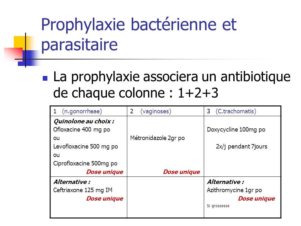 Prophylaxie bactérienne et parasitaire