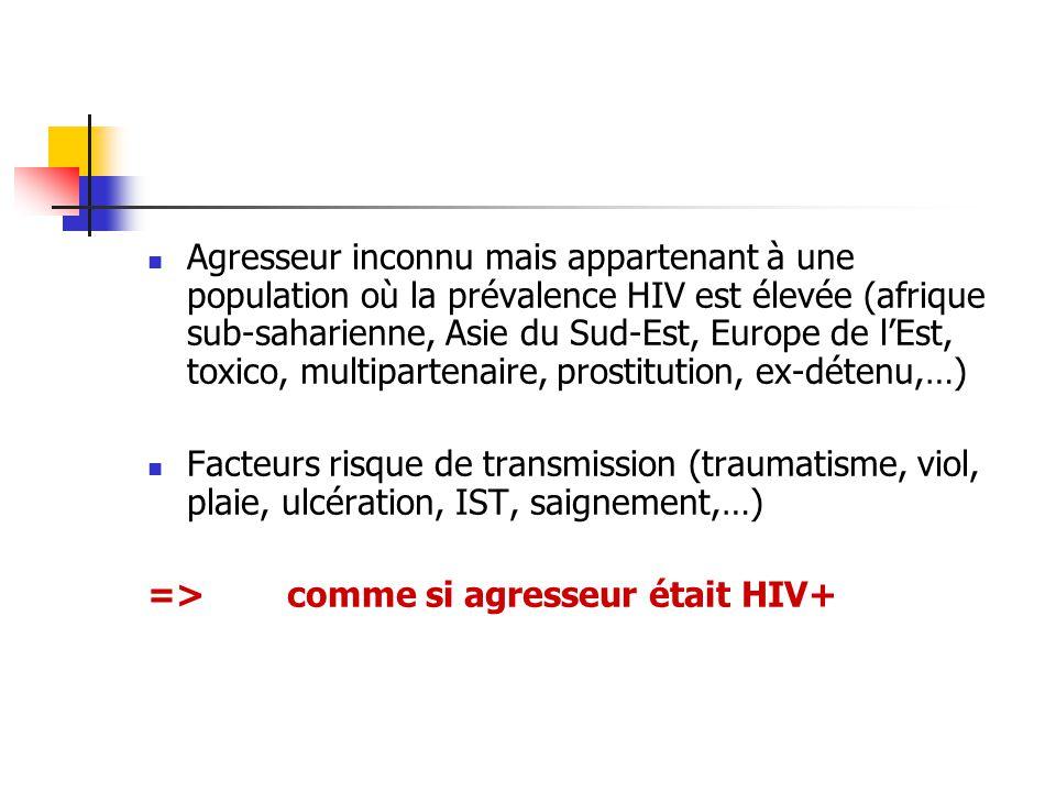 Agresseur inconnu mais appartenant à une population où la prévalence HIV est élevée (afrique sub-saharienne, Asie du Sud-Est, Europe de l'Est, toxico, multipartenaire, prostitution, ex-détenu,…)