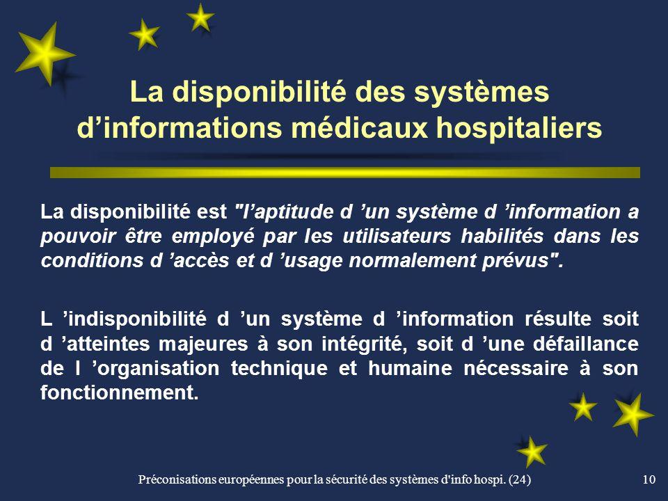 La disponibilité des systèmes d'informations médicaux hospitaliers