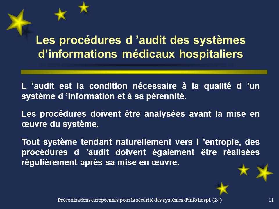 Les procédures d 'audit des systèmes d'informations médicaux hospitaliers