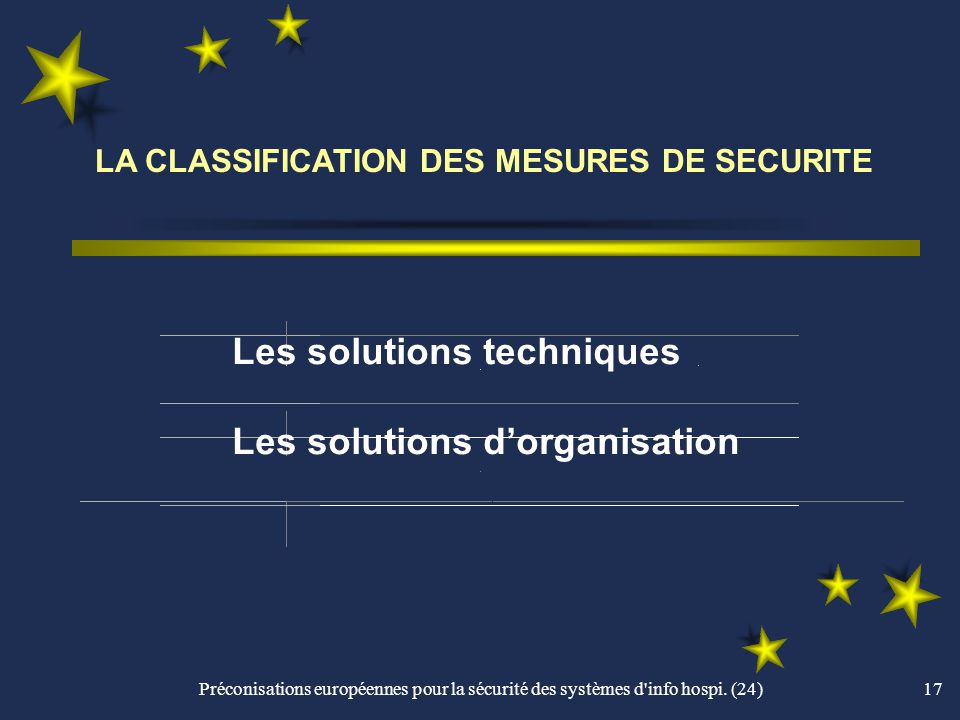 LA CLASSIFICATION DES MESURES DE SECURITE
