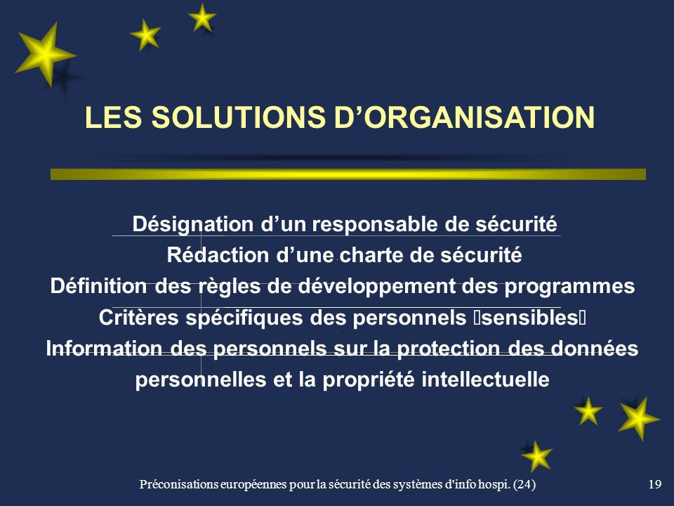 LES SOLUTIONS D'ORGANISATION