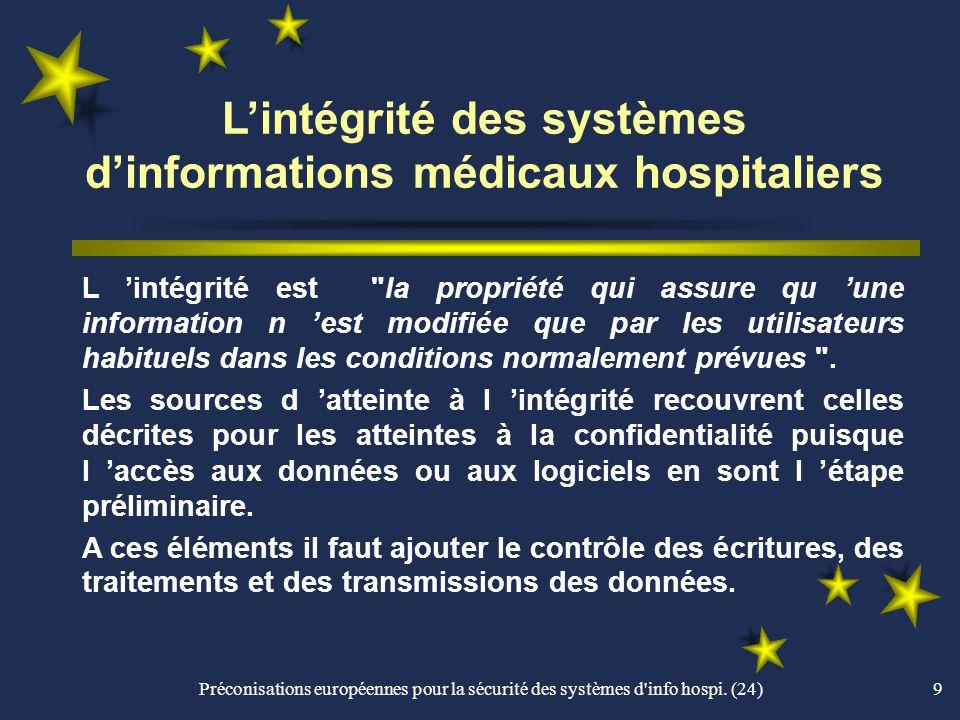L'intégrité des systèmes d'informations médicaux hospitaliers