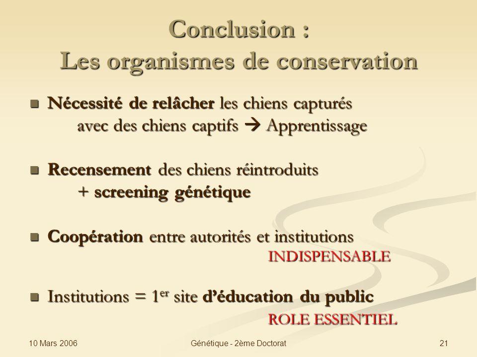 Conclusion : Les organismes de conservation