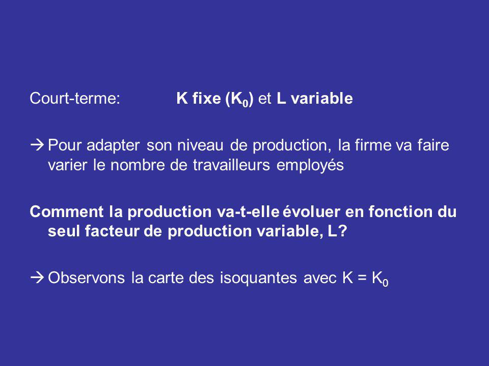 Court-terme: K fixe (K0) et L variable