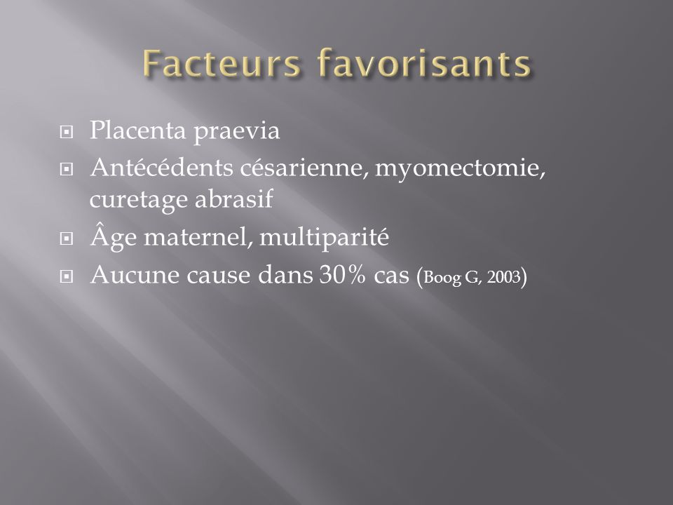 Facteurs favorisants Placenta praevia