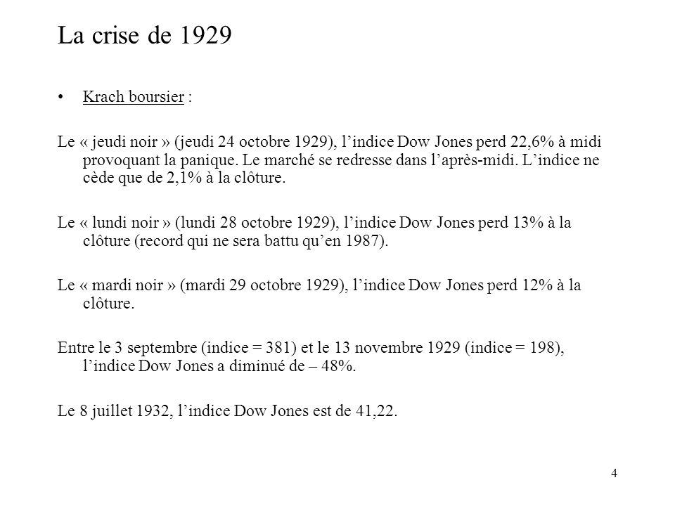 La crise de 1929 Krach boursier :