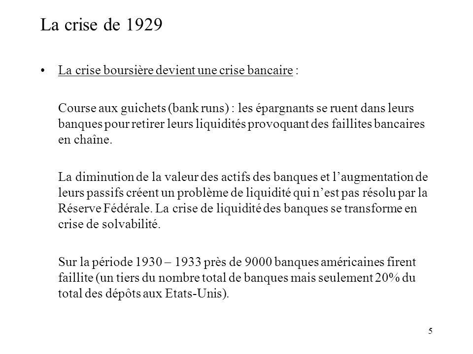 La crise de 1929 La crise boursière devient une crise bancaire :