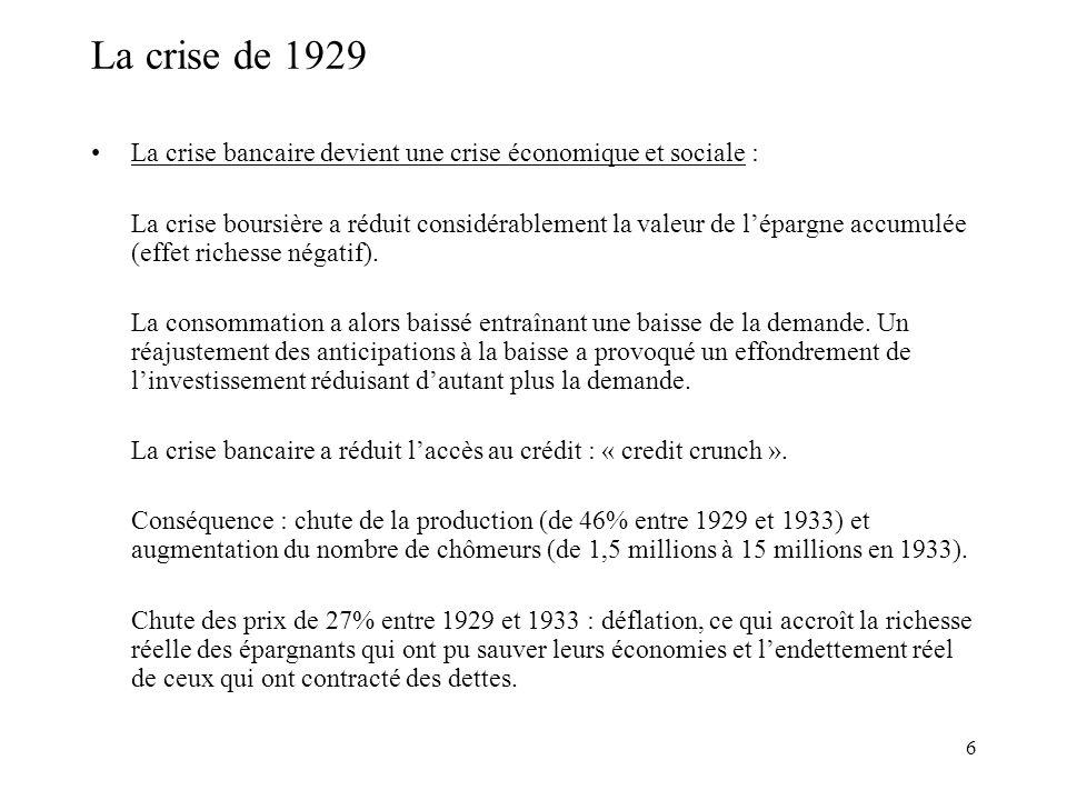 La crise de 1929 La crise bancaire devient une crise économique et sociale :