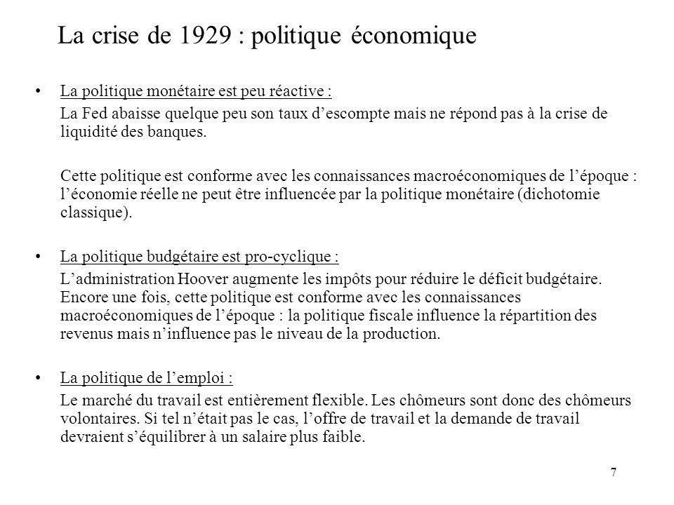 La crise de 1929 : politique économique