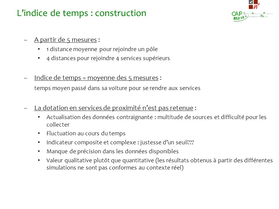 L'indice de temps : construction
