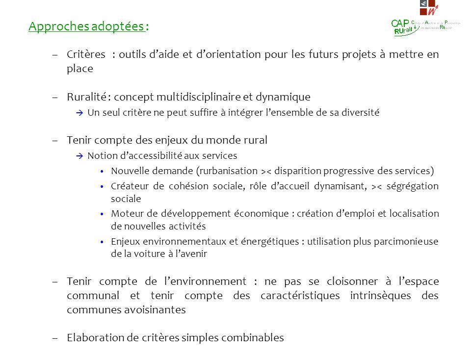 Approches adoptées : Critères : outils d'aide et d'orientation pour les futurs projets à mettre en place.