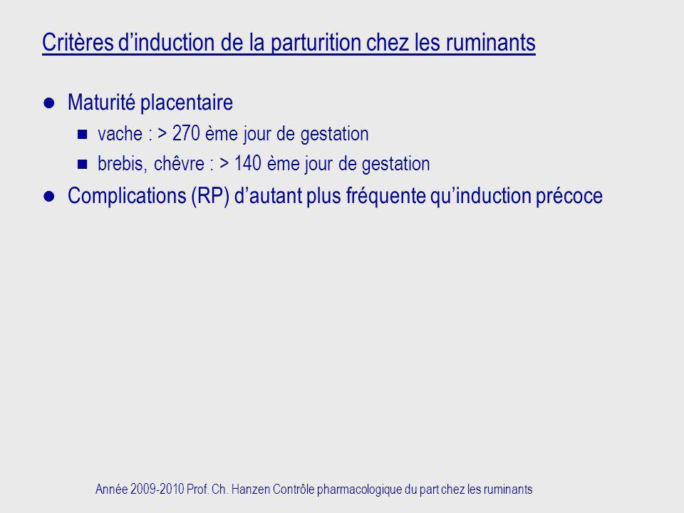 Critères d'induction de la parturition chez les ruminants