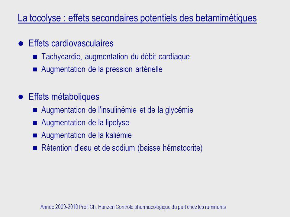 La tocolyse : effets secondaires potentiels des betamimétiques