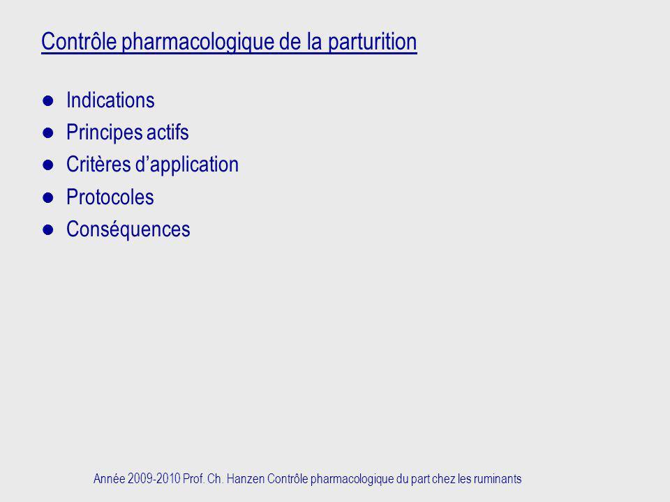 Contrôle pharmacologique de la parturition
