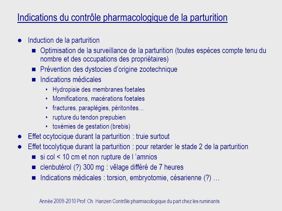 Indications du contrôle pharmacologique de la parturition