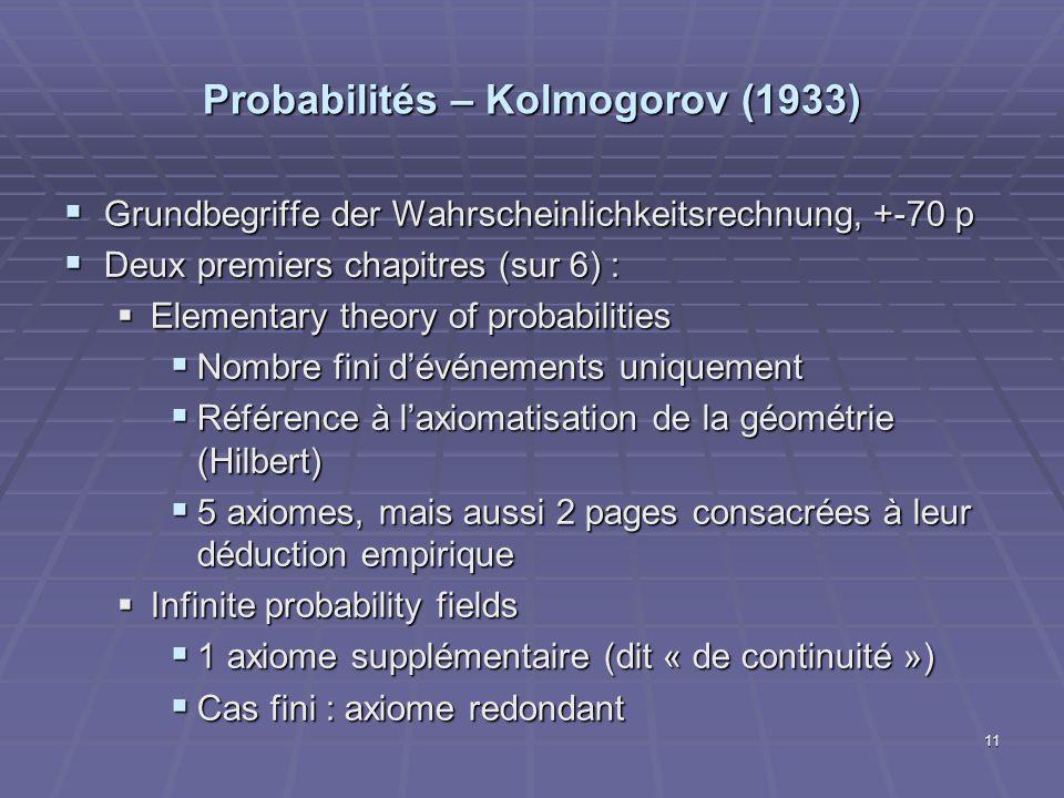 Probabilités – Kolmogorov (1933)