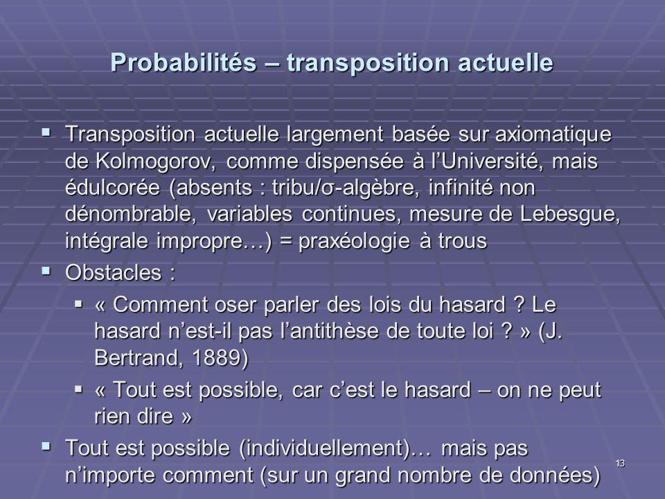 Probabilités – transposition actuelle