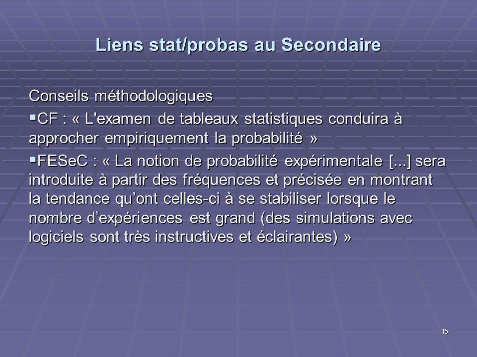 Liens stat/probas au Secondaire