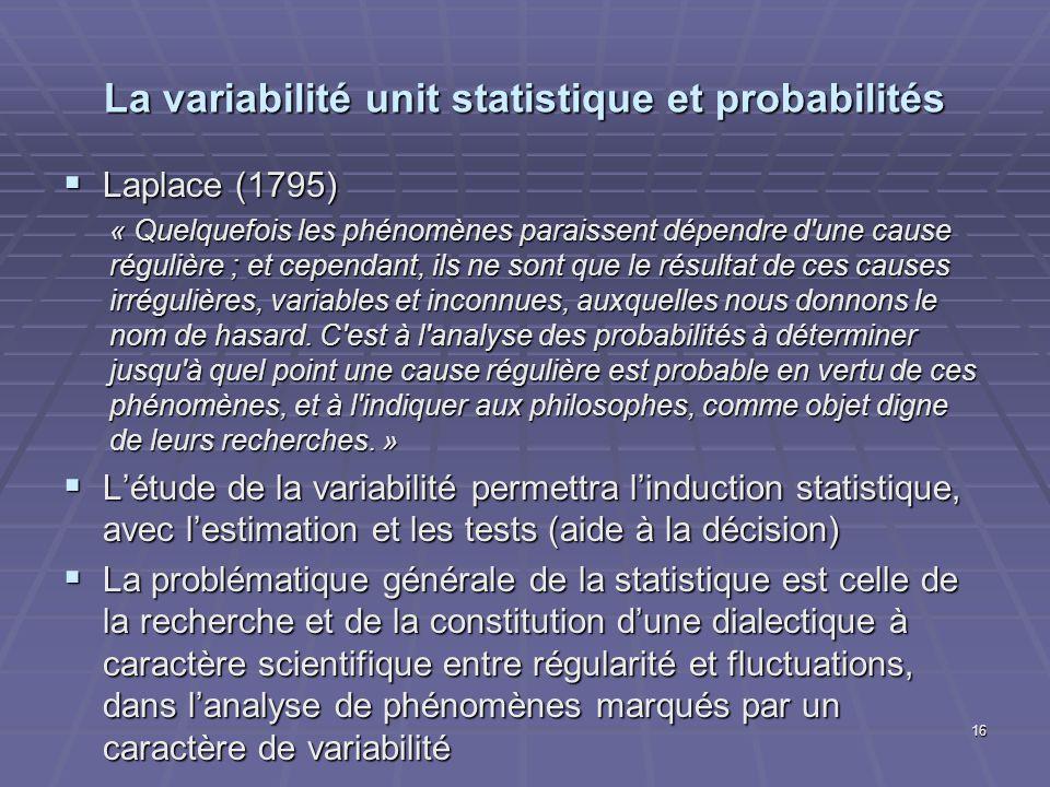La variabilité unit statistique et probabilités