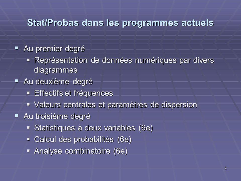 Stat/Probas dans les programmes actuels