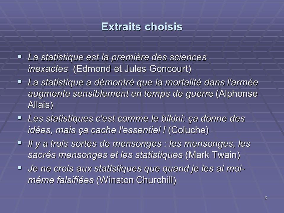 Extraits choisis La statistique est la première des sciences inexactes (Edmond et Jules Goncourt)