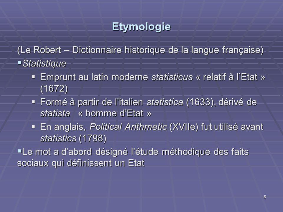 Etymologie (Le Robert – Dictionnaire historique de la langue française) Statistique.
