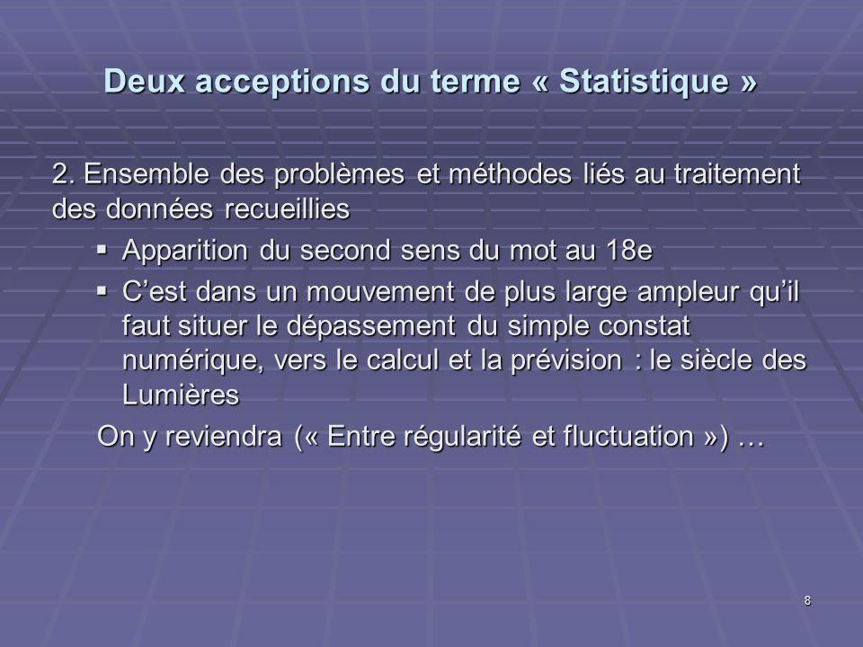 Deux acceptions du terme « Statistique »