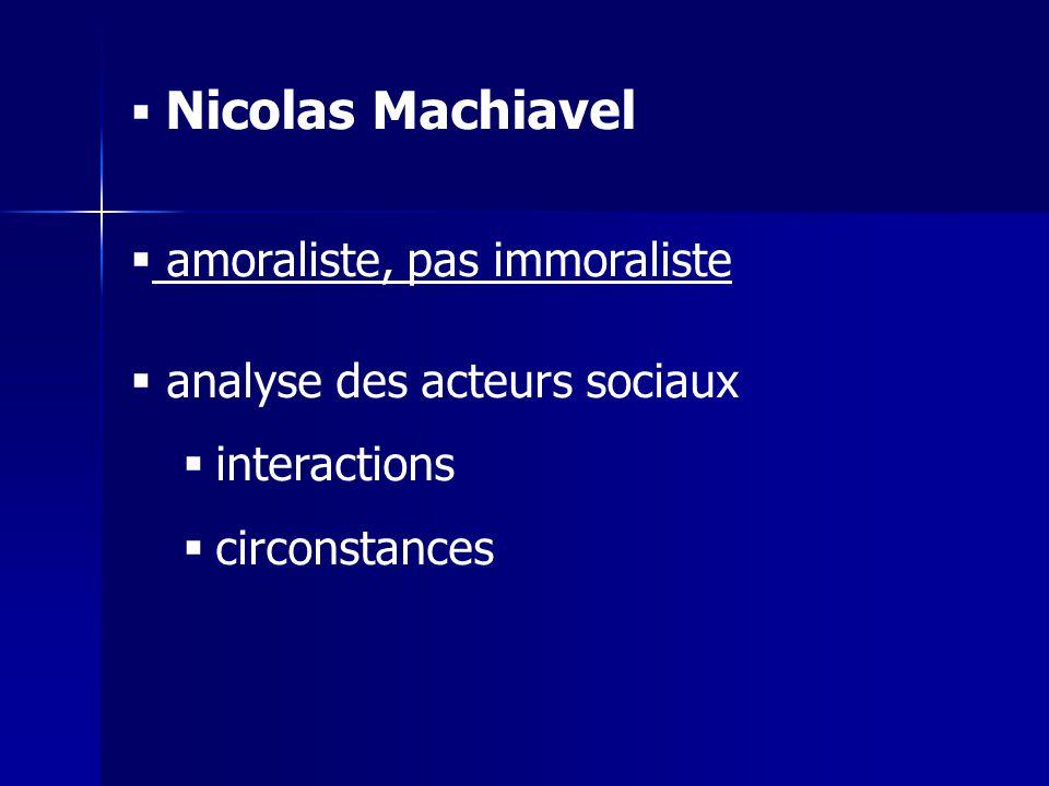Nicolas Machiavel amoraliste, pas immoraliste. analyse des acteurs sociaux.