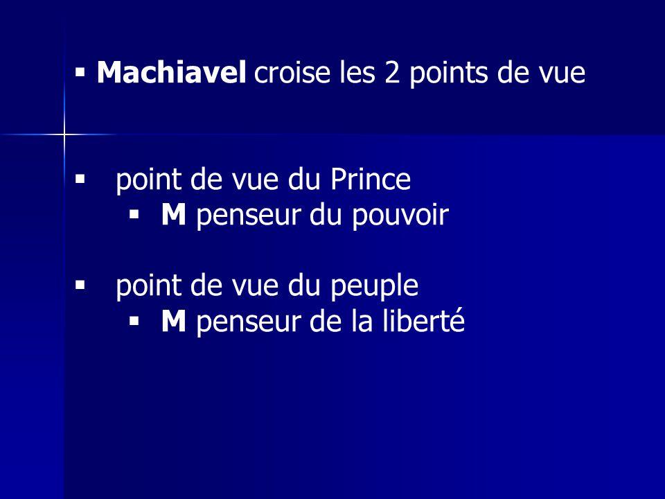 Machiavel croise les 2 points de vue